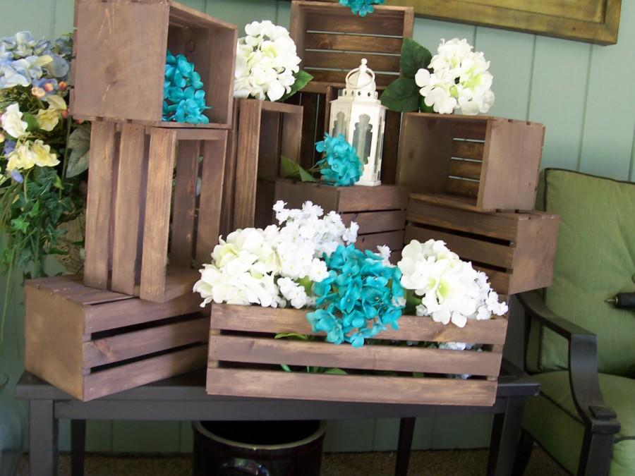 Wedding Centerpiece Table Center Piece Decoration Wood Crates Rustic Reception Country Decor Crate