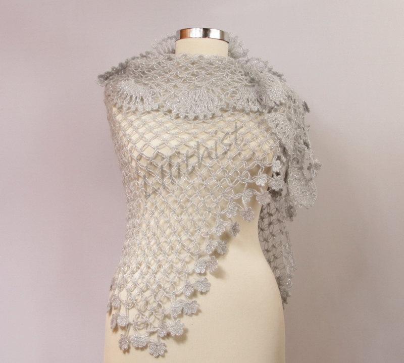 Silver Grey Shawl Wrap Crochet Wedding Bridal Shrug Bolero Bridesmaid Evening Gift For Her