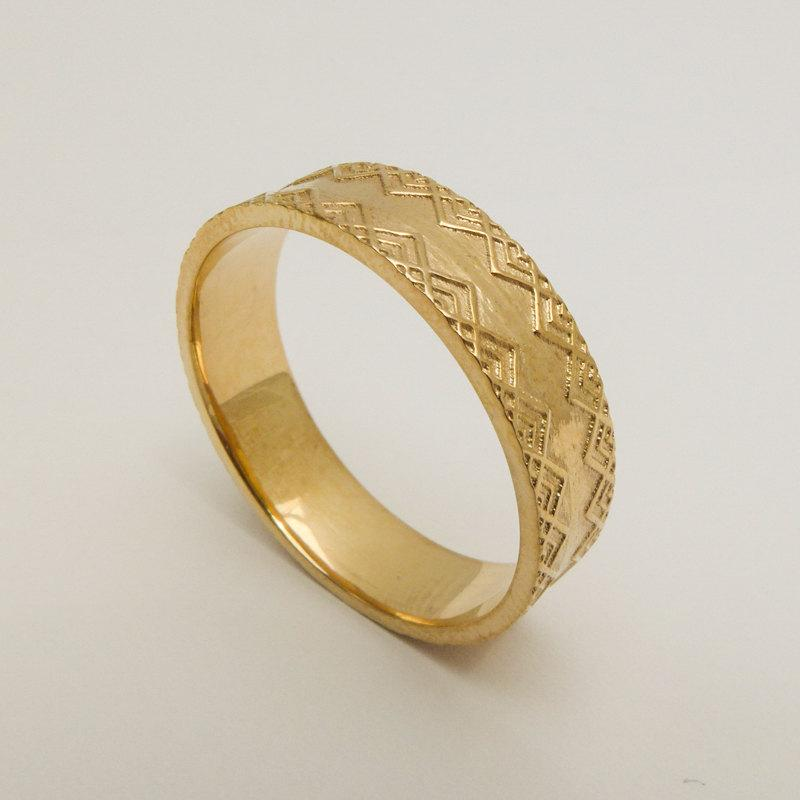 Men S Wedding Ring 14 Karat Solid Gold Band Decorated With Delicate Pattern Yellow Wide