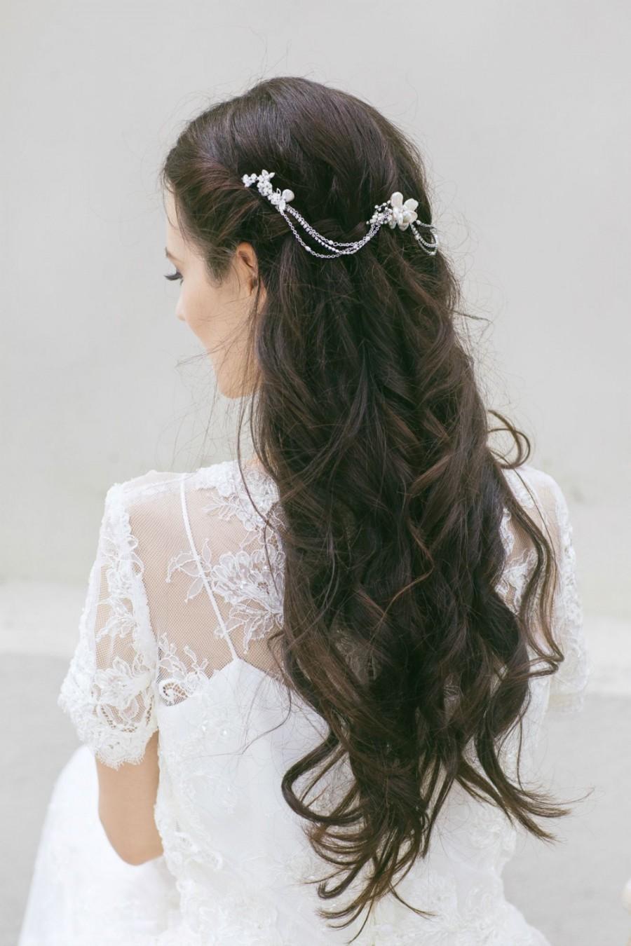 bridal hair chain, bridal hair accessories , pearl hair swag