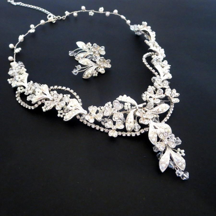 Beaded Bridal Necklace Pearl Earrings Jewelry Set Crystal Wedding Rhinestone And Vintage