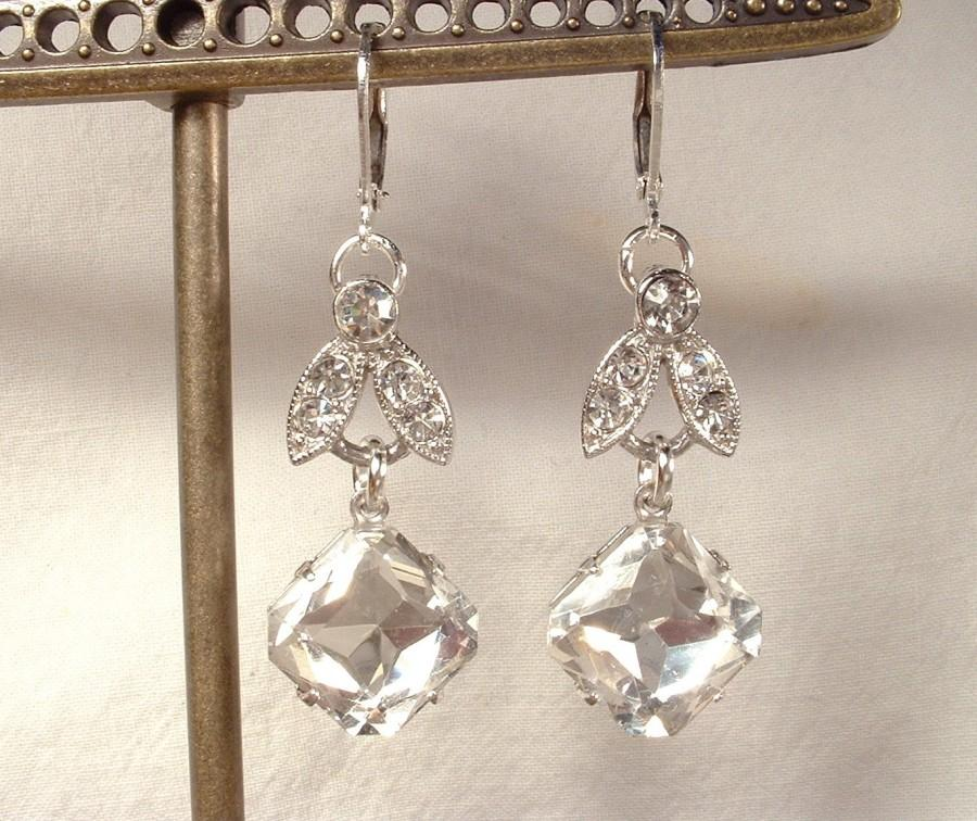 Fresh Vintage Art Deco Rhinestone Silver Leaf Bridal Dangle Earrings  DN75