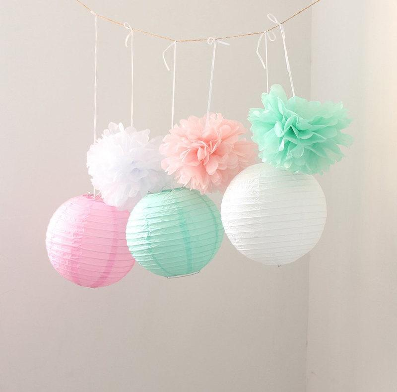 Set Of 9 Mixed Mint Green Pink White Tissue Paper Pom Poms And Lantern Wedding Birthday Baby Shower Nursery Hanging Decoration