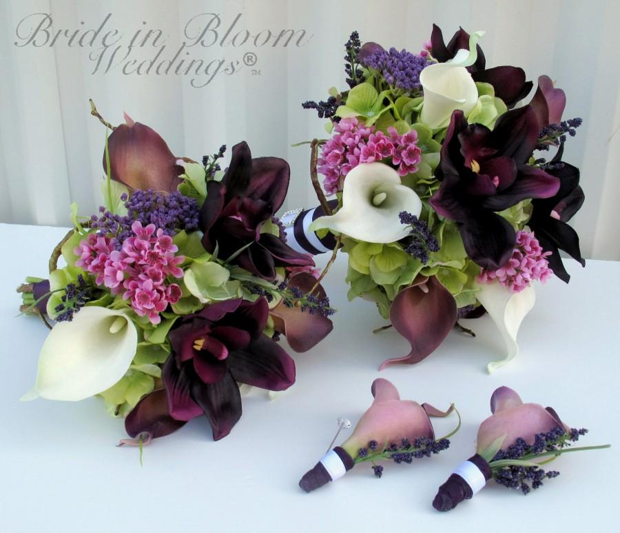 4 Piece Wedding Bouquet Bridal Set Silk Flowers Real Touch Calla Lily Orchid Bouquets