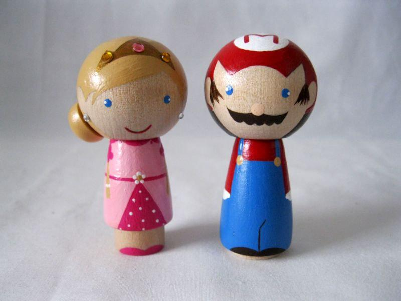 mario wedding cake topper mario princess a kokeshi 17154