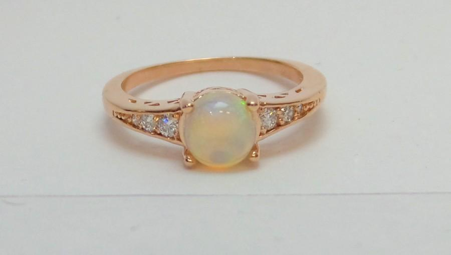 Opal Ring 14 K Rose Gold With Diamonds Opal Ring 14 K Rose Gold