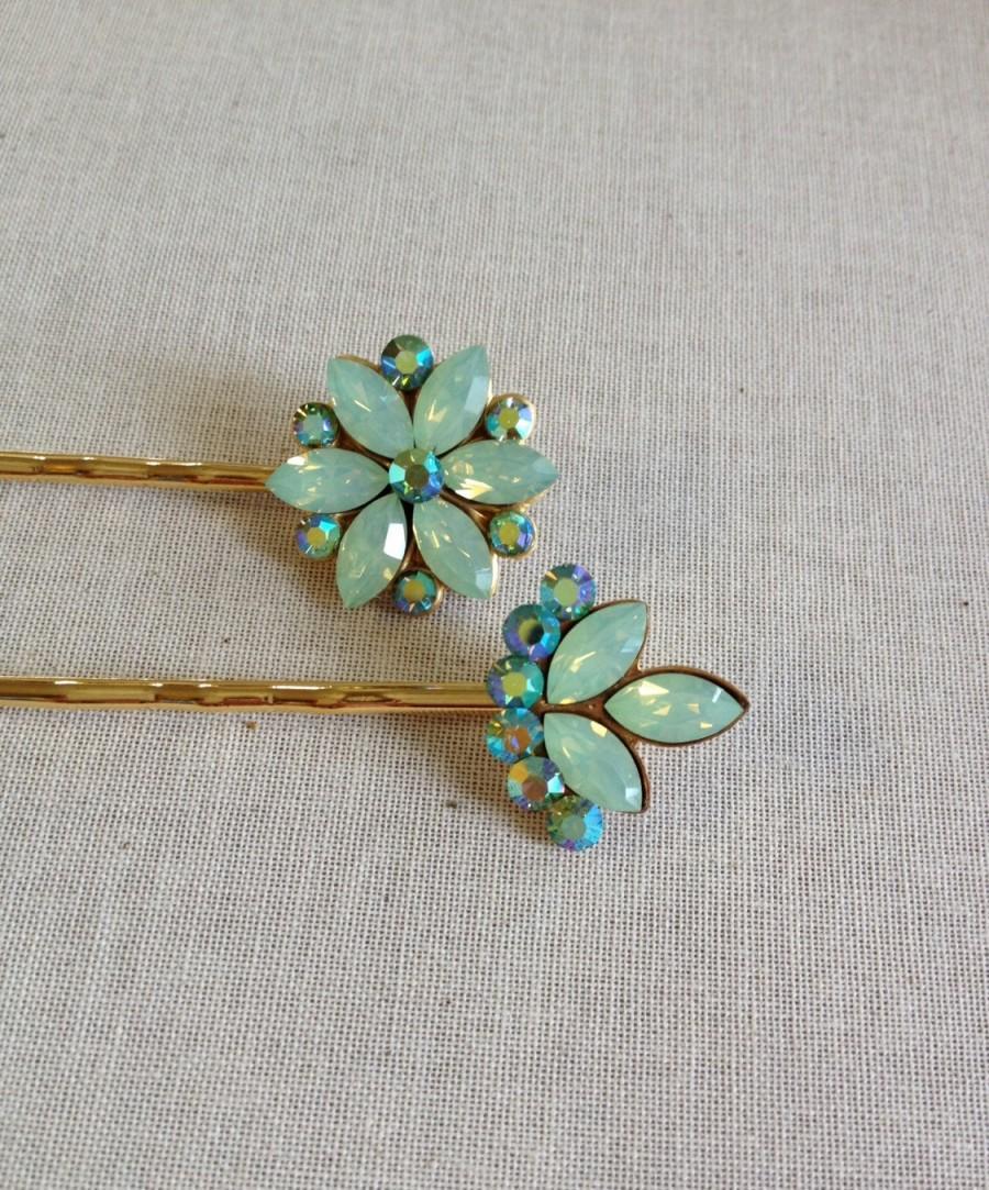 swarovski mint green opal rhinestone hair pins, hair pin, sea foam
