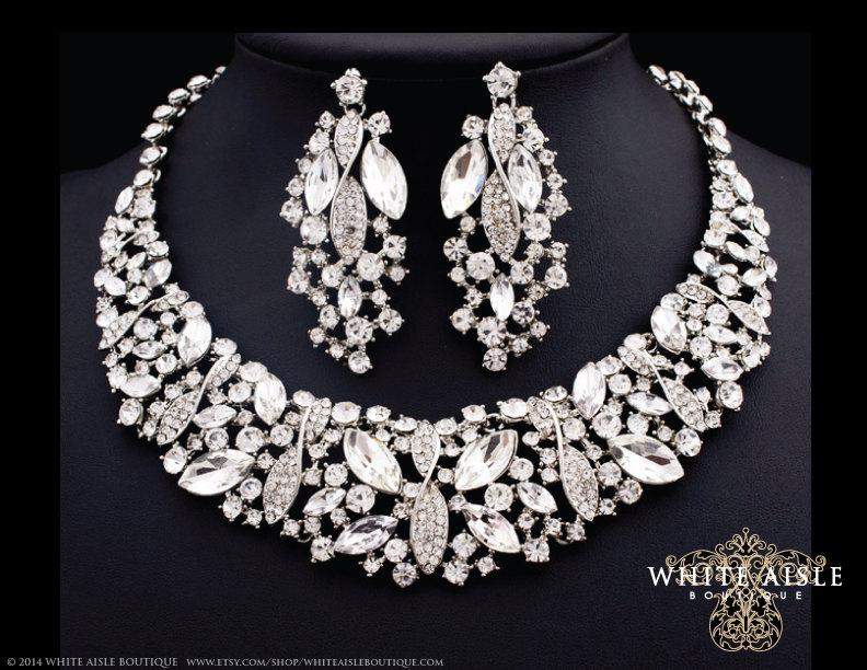 Bridal Statement Necklace Crystal Earring Set Rhinestone Jewelry Vintage Style