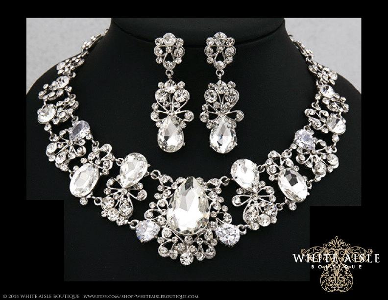 Bridal Jewelry Set Crystal Statement Necklace Earrings Vintage Style Wedding