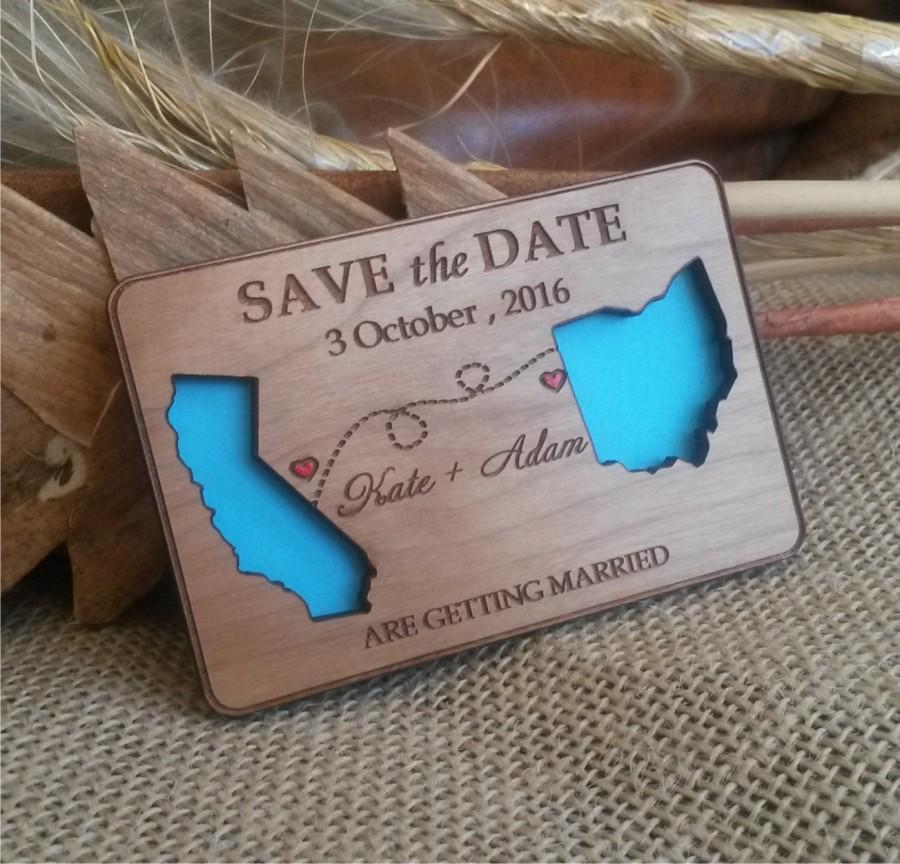 State Love Wood Save The Date Magnets 100 Destination Wooden Eco Friendly Wedding Magnet