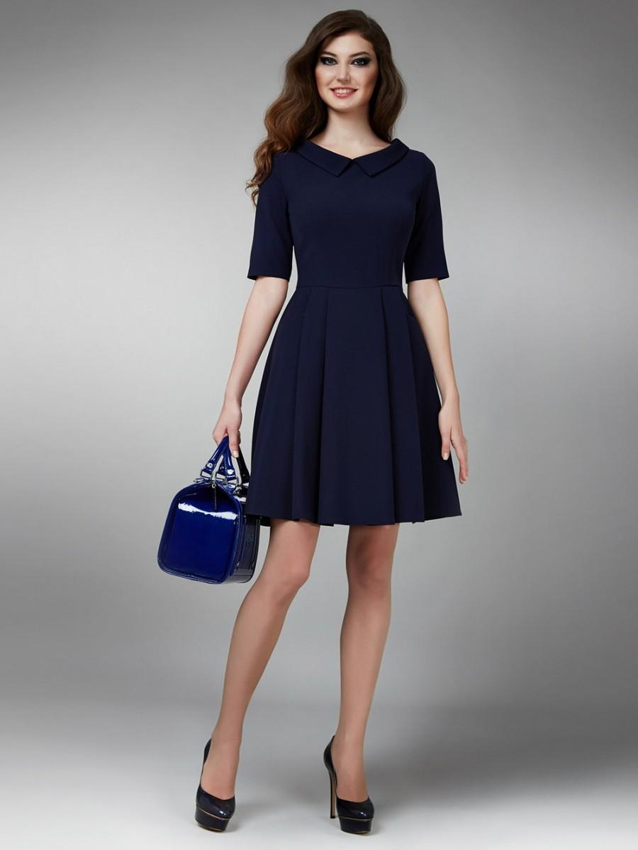 Unique Navy Blue Cocktail Dress, Short Formal Dress, Dress With Pleats  TY72