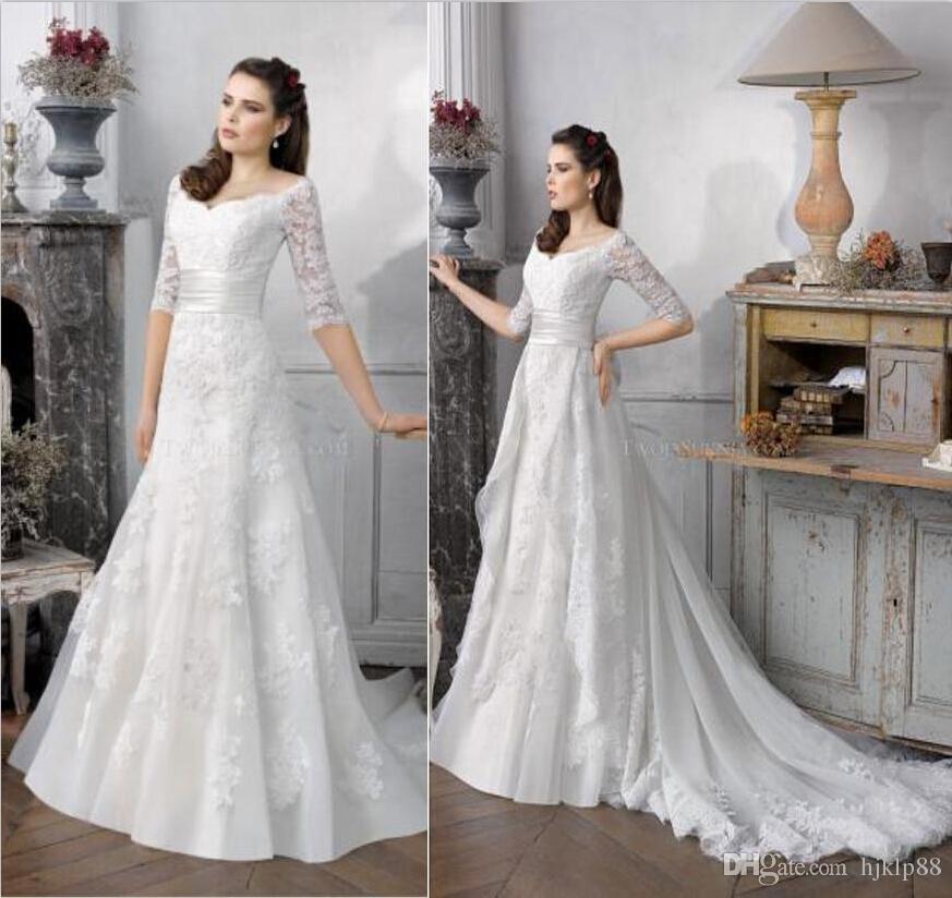 2017 New Wedding Dresses Detachable Train Applique Lace Half