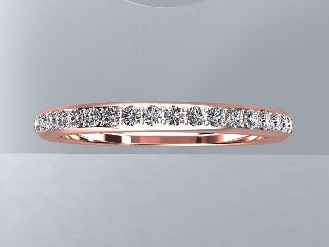 Topaz 14kt Rose Gold Wedding Ring 1 2mm Round White Band Anniversary