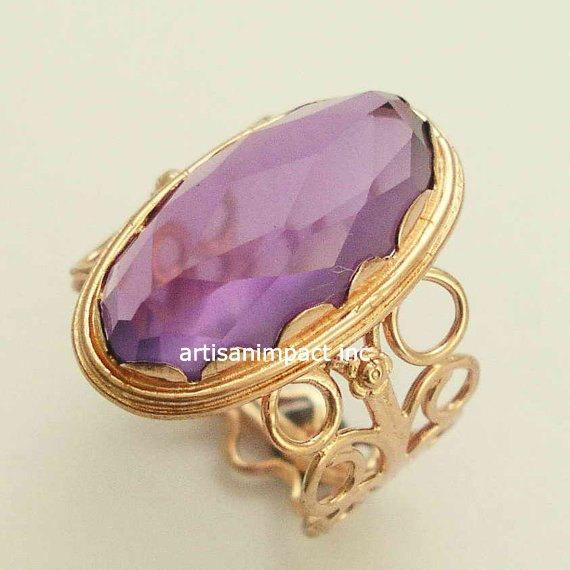 14k Rose Gold Ring Rose Cut Stone Ring Amethyst Gemstone