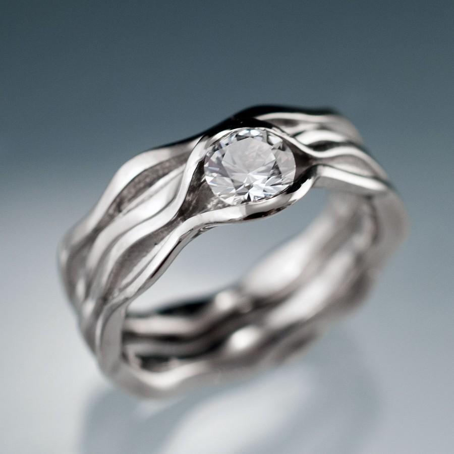 White Shire Bridal Rings Wave Wedding Ring Set Engagement In Palladium Gold Rose Or Yellow