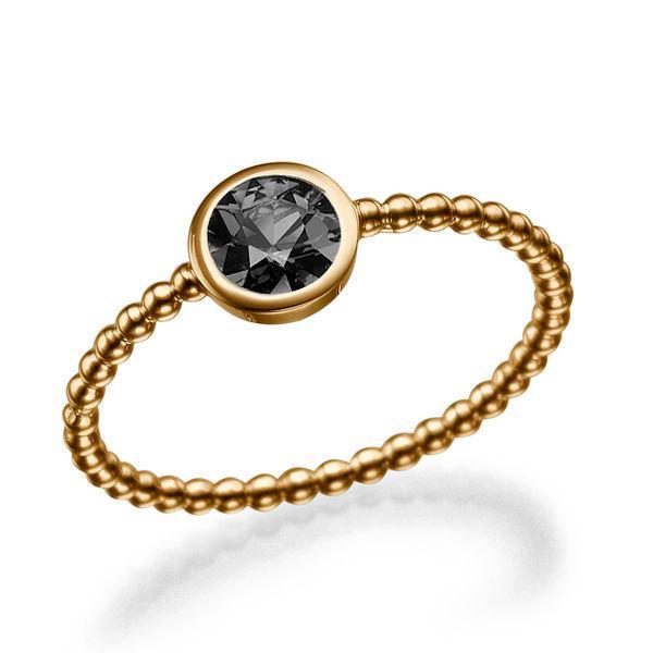 Bezel Ring 14K Rose Gold Engagement Ring Black Diamond Ring
