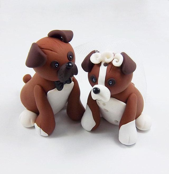 personalized wedding cake topper with dog boxer cake topper wedding cake topper pet cake 18289