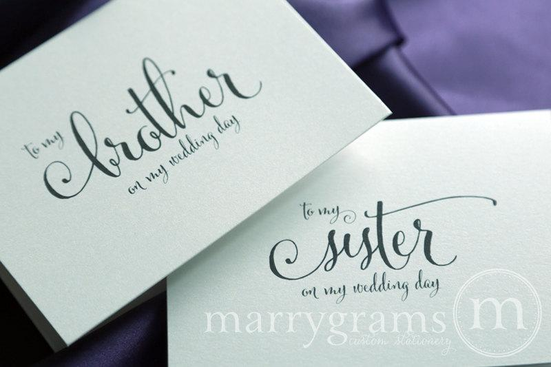 Wedding Card To Your Brother Or Sister Siblings Of The Bride Groom Cards In Law My On Day For Gift Cs07