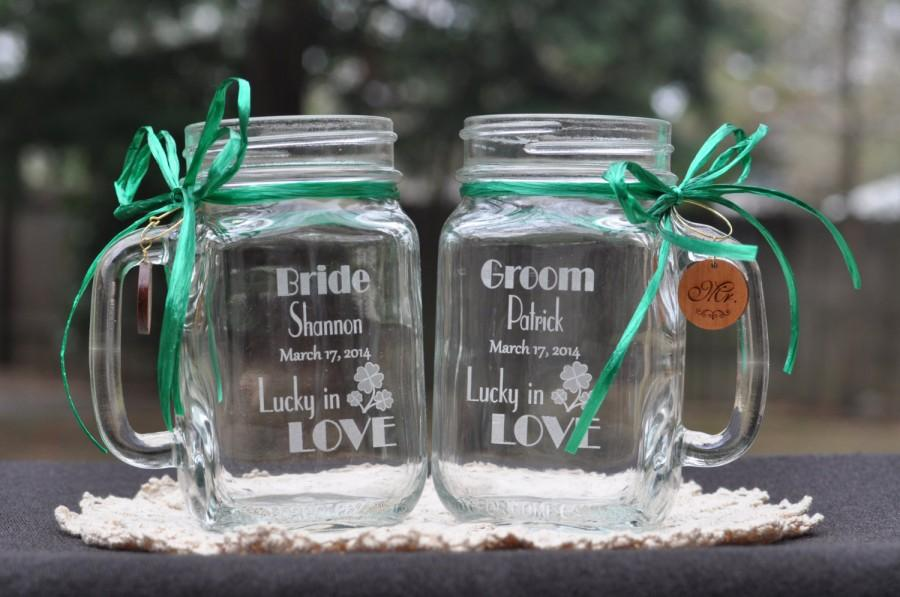 Lucky In Love Wedding Shamrock Mason Jars Personalized Bride And Groom Toasting Gles