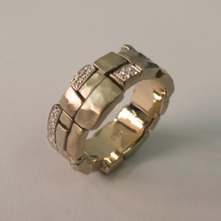 Wedding Band Gold Diamonds Tricolor Men S Ring Mens