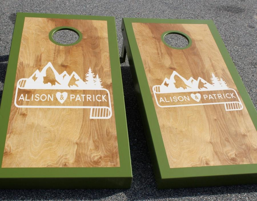 Fresh Wedding Cornhole Board Decals: Set Of Two Custom Mountain And  HC38