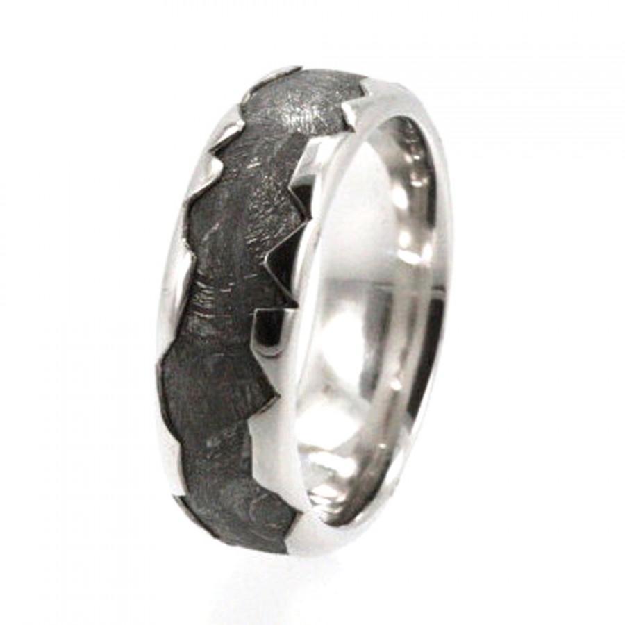 Cool Meteorite Platinum Ring Wedding Band For Men Unique Mens Wavy Profile