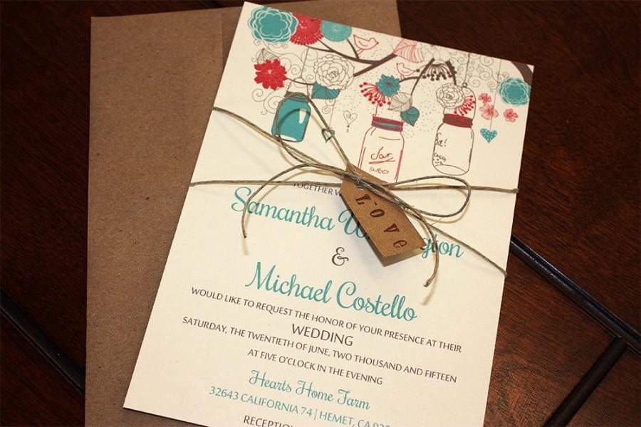Mason Jar Wedding Invitation With Kraft Envelope Rustic Love Tag Twine Red Teal