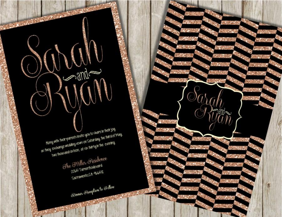 Glitter Wedding Invitations Rose Gold Black And