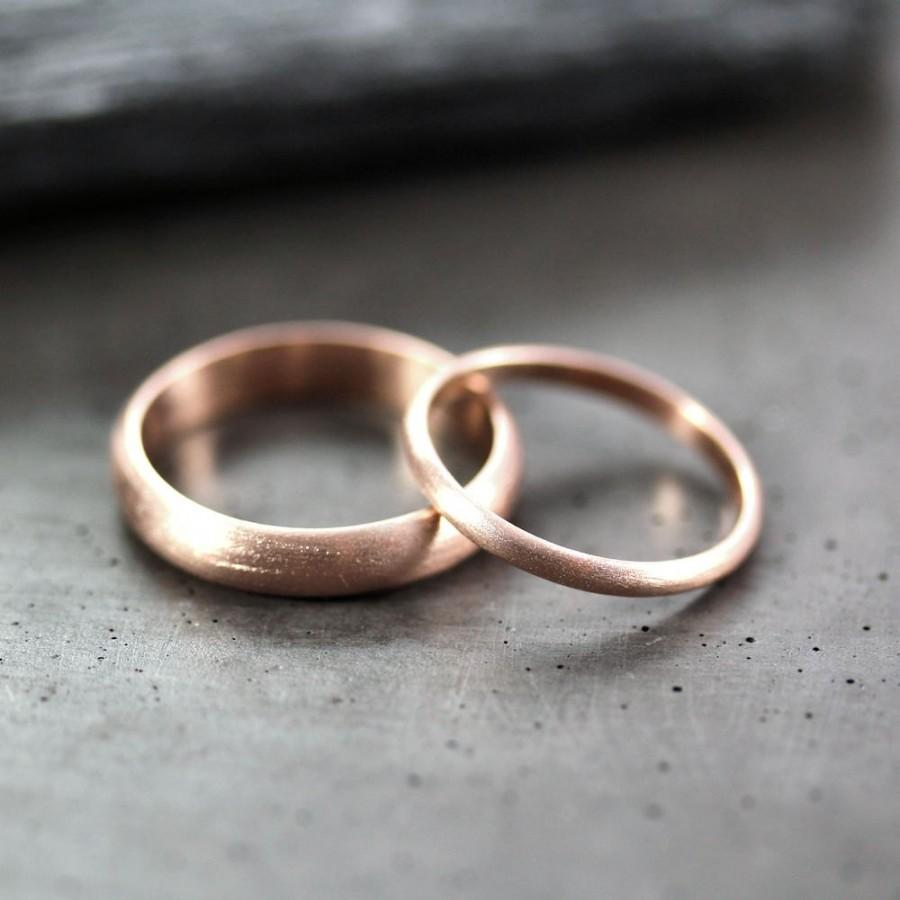 Rose Gold Wedding Set Brushed Men S And Women His Hers 4mm 2mm Half Round Recycled 14k Ring