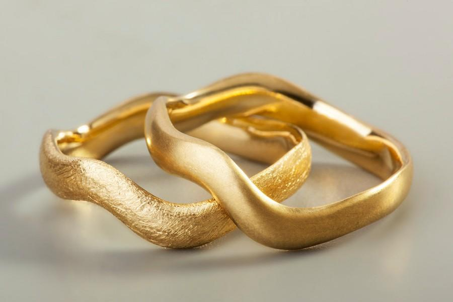 Gold Wave Ring 18k Wedding Band Uni Stackable Custom Made