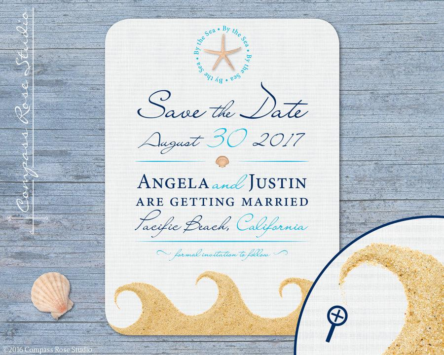 Beach Wedding Save The Date By Sea Nautical Sand Shells Destination Elopement Announcement Elope Reception Party