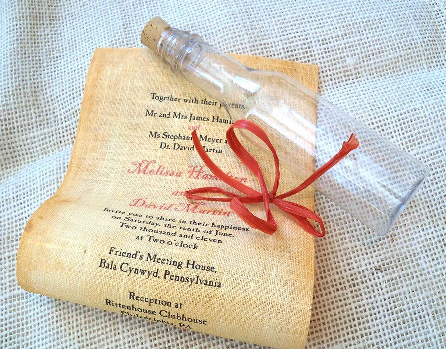 Message In A Bottle Wedding Invitation Beach Fabric Scroll On Linen Rustic Destination 10