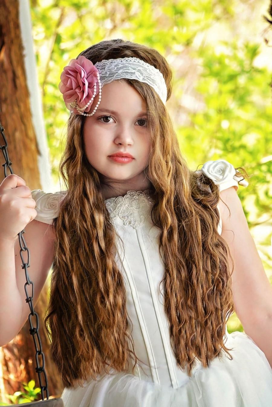mauve rose headband, flower girl headband, mauve bridal headband