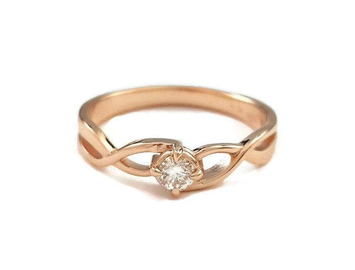Infinity Engagement Ring 14k Rose Gold With Diamond Infinity