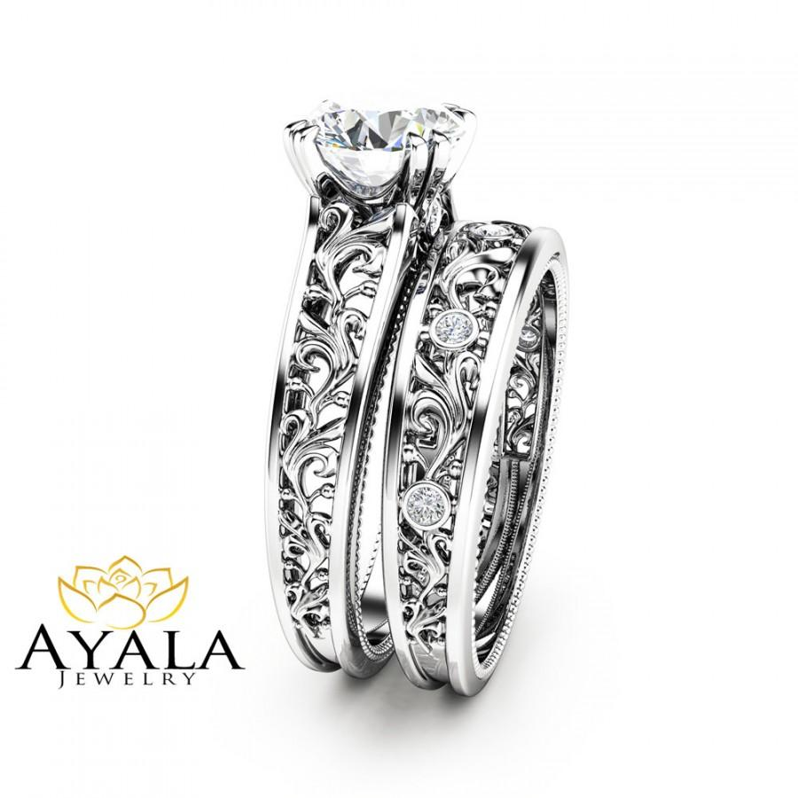 Unique Diamond Bridal Set 14k White Gold Engagement Rings Art Deco Styled Ring Filigree