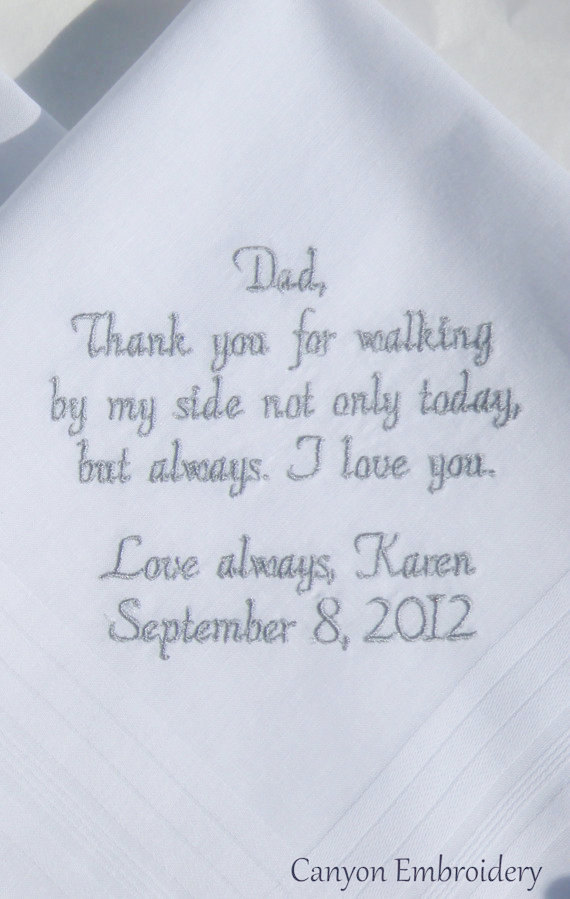 Wedding Gift For Dad Embroidered Handkerchief Personalized Father Of The Bride Gifts By Canyon Embroidery