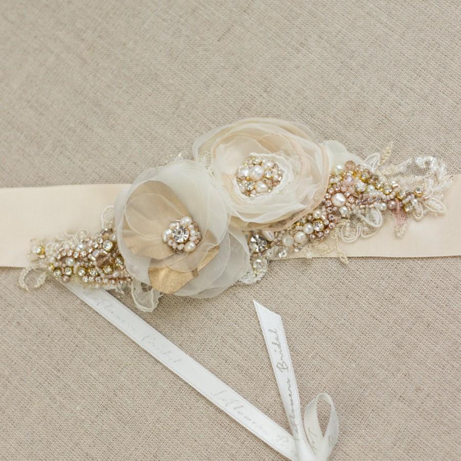 Bridal Sash Gold Wedding Belt Rose Dress Rustic Shabby Chic Fl Champagne Ivory Ooak