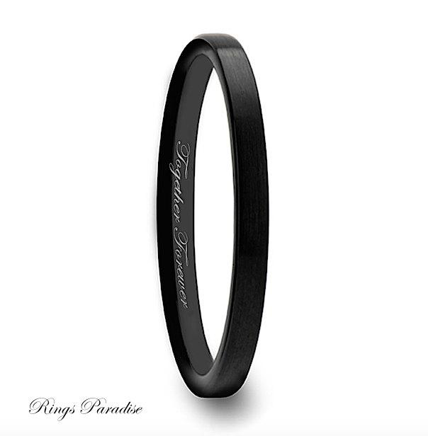 Tungsten Wedding Band Tungtsen Ring Bands Women Black 2mm Carbide Promise