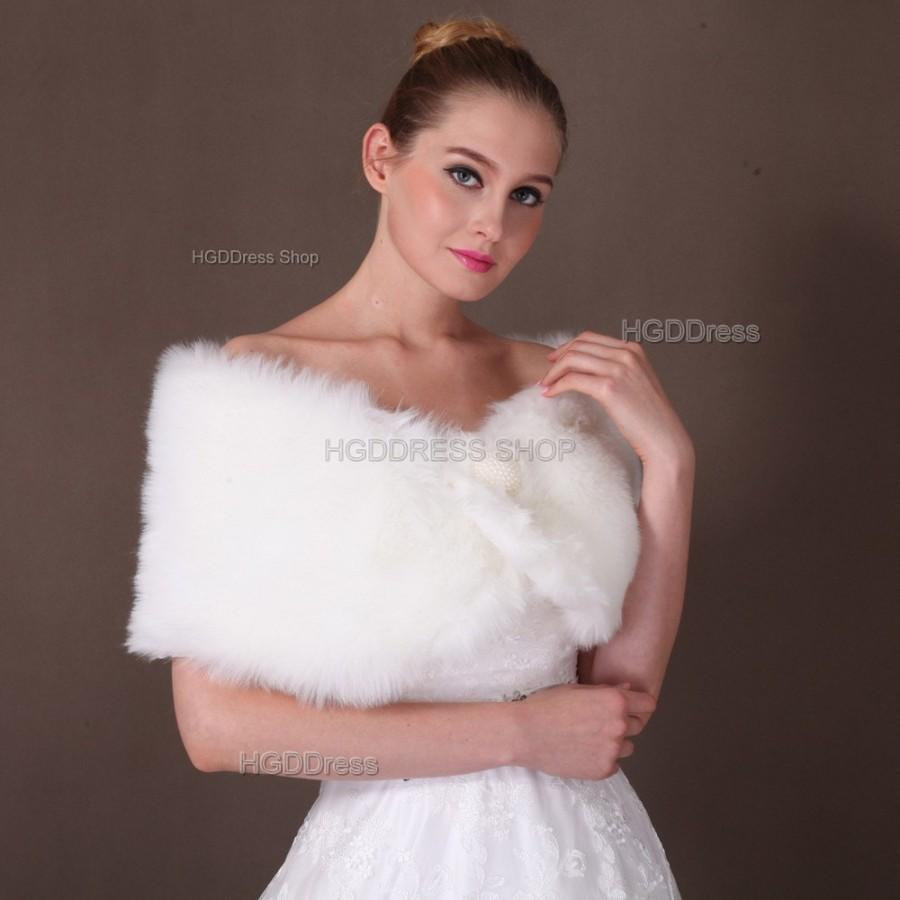 White Faux Fur Shawl Bridal Wrap Shrug Stole Wedding