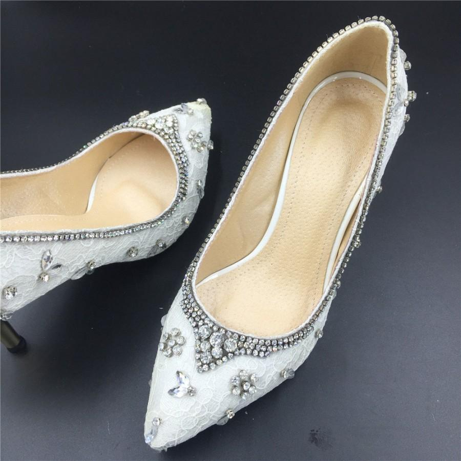 Elegant White Ivory Lace Wedding Shoes Prom Crystal Handmade Bridal Unique Size 7 8 9 10 11 12 4 5