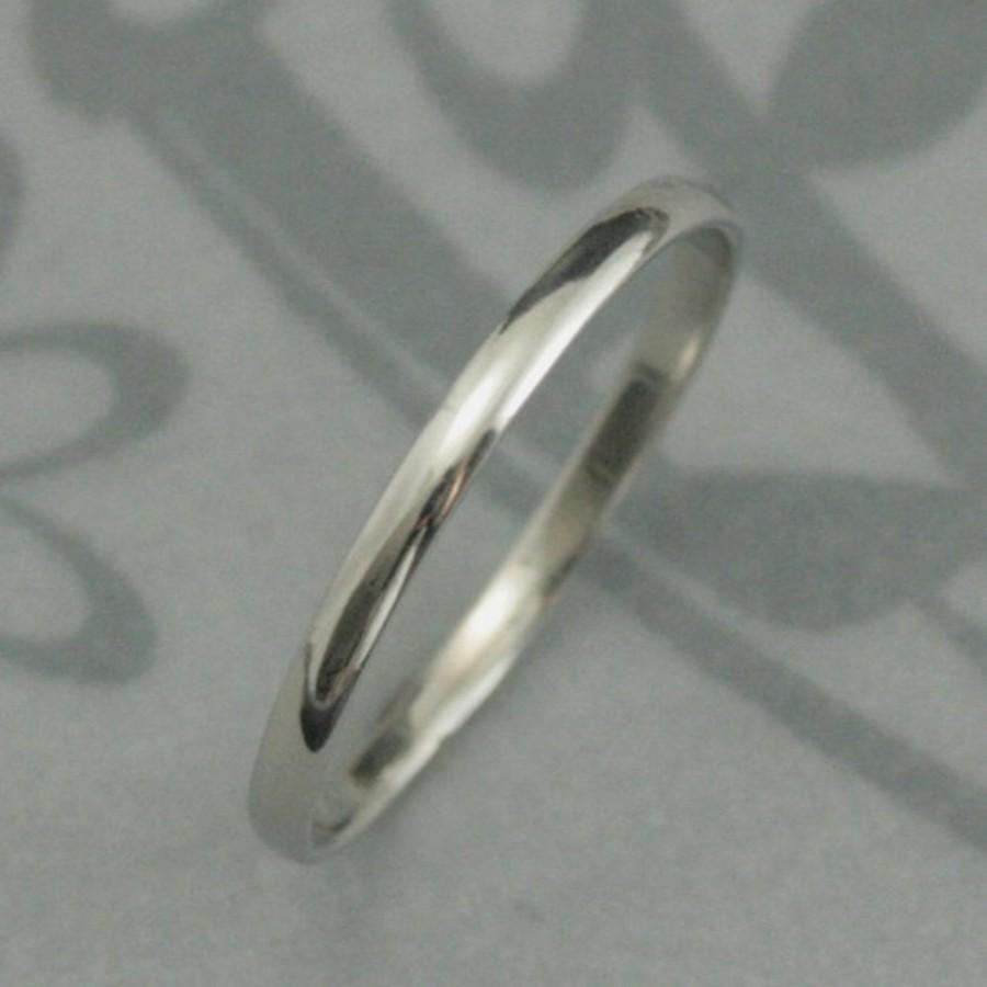 Platinum Wedding Band Skinny Minnie Plain Jane Ring Solid 1 5mm Rounded Traditional Thin