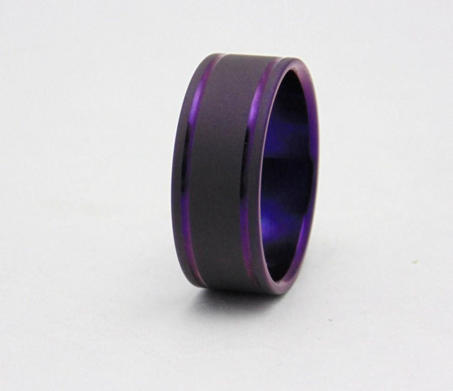 Anium Ring With Double Plum Crazy Purple Pinstripes Handmade Wedding Band