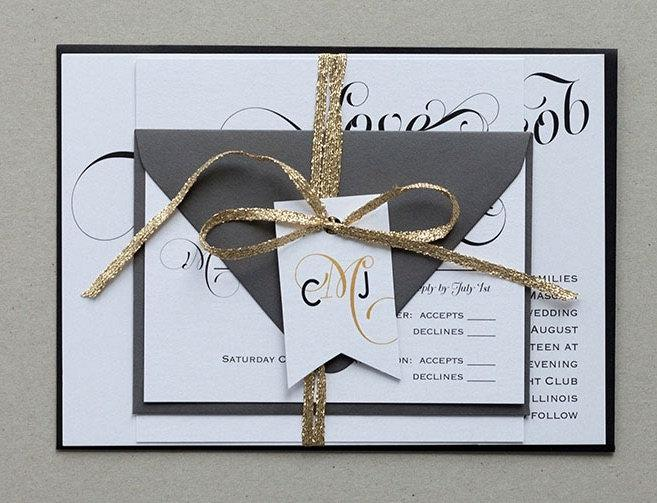 Modern Vintage Wedding Invitations Elegant Calligraphy Invites Invitation Invite
