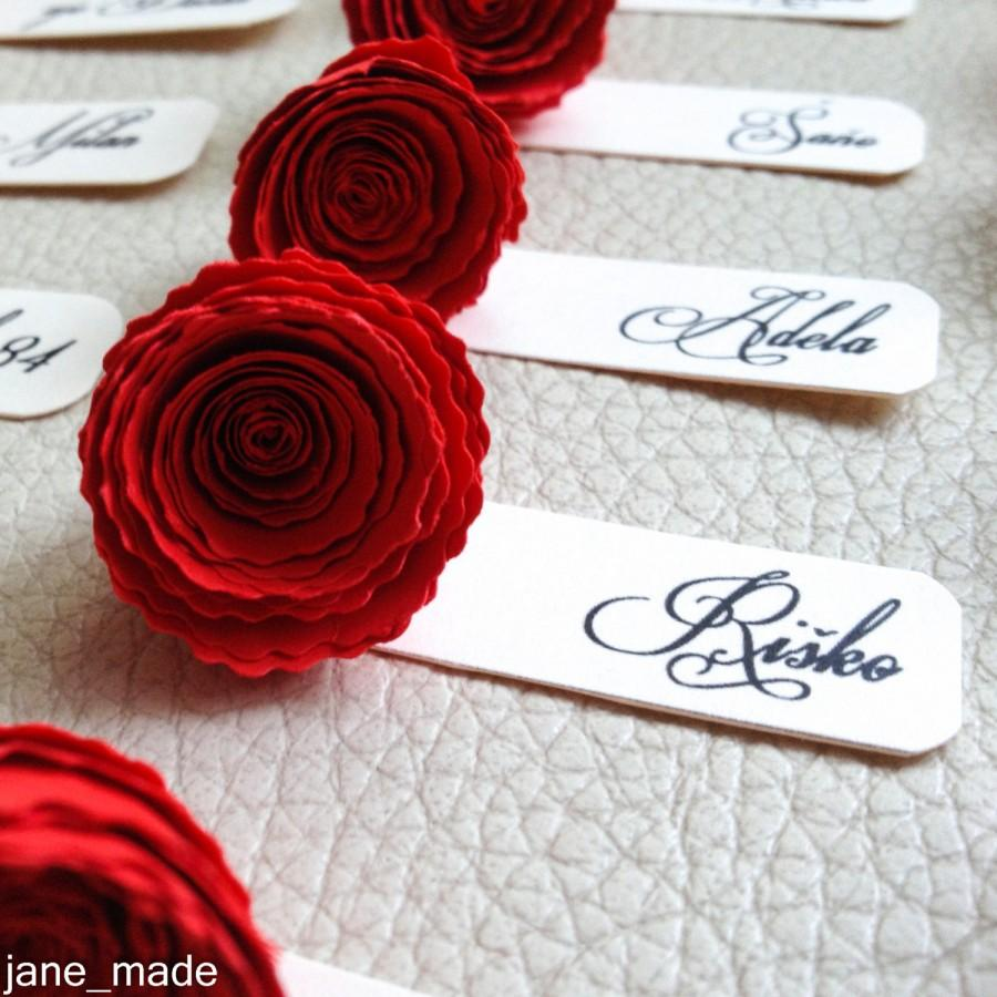 Rose Wedding Name Table Tags Decor Paper Card Elegant Place Tag Favor Red
