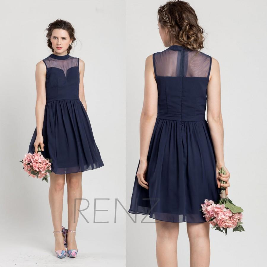 2017 Navy Blue Bridesmaid Dress Short Tail Wedding High Neck Chiffon Party Formal Knee Length F012a