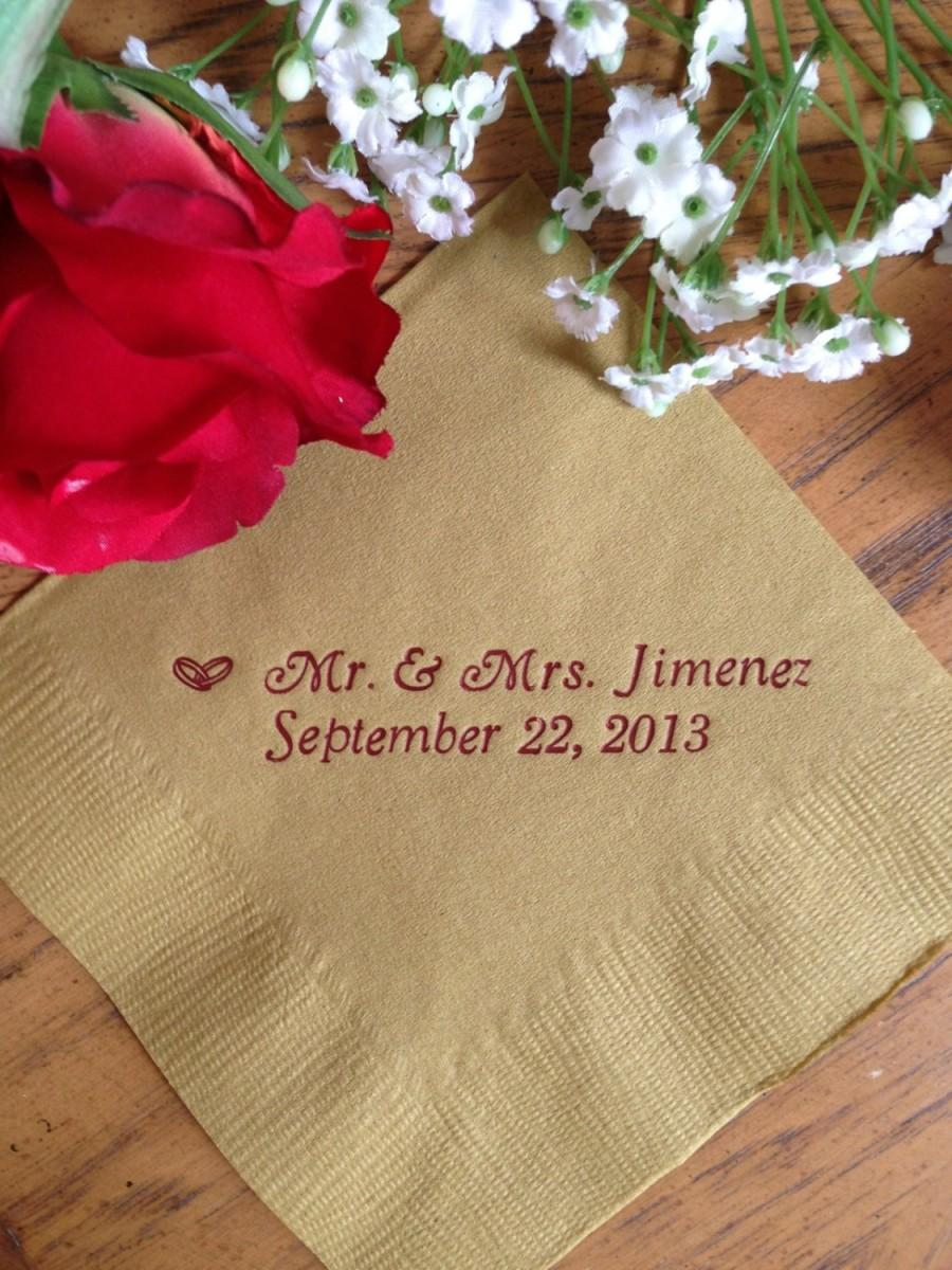 Personalized Napkins Wedding Tail Beverage Paper Anniversary Party Monogram Custom Luncheon Avail