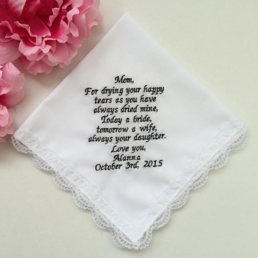Wedding Handkerchief For Mom Gift Mother Of Bride Embroidered Mum Personalized Embroidery Custom Words Hankie