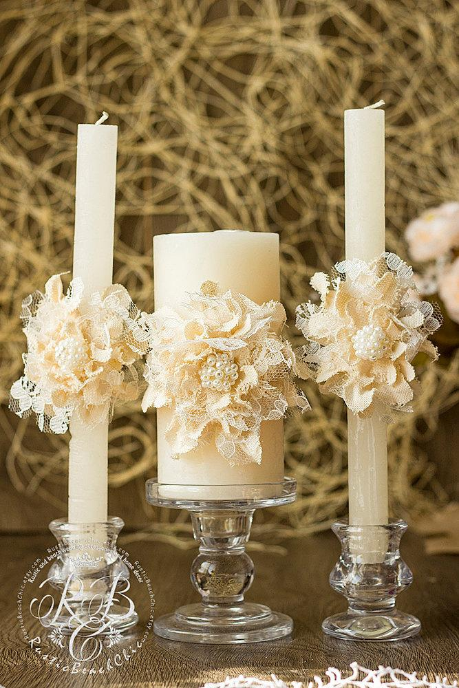Ivory Wedding Unity Candles Handmade Flower Rustic Ideas Pillar Country Barn Vintage Candle Set 3pcs