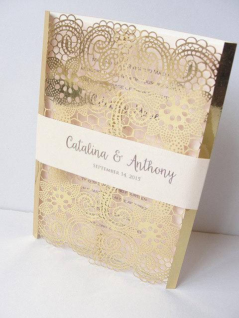 Laser Cut Wedding Invitation Lace Invite Gold 1 Foil