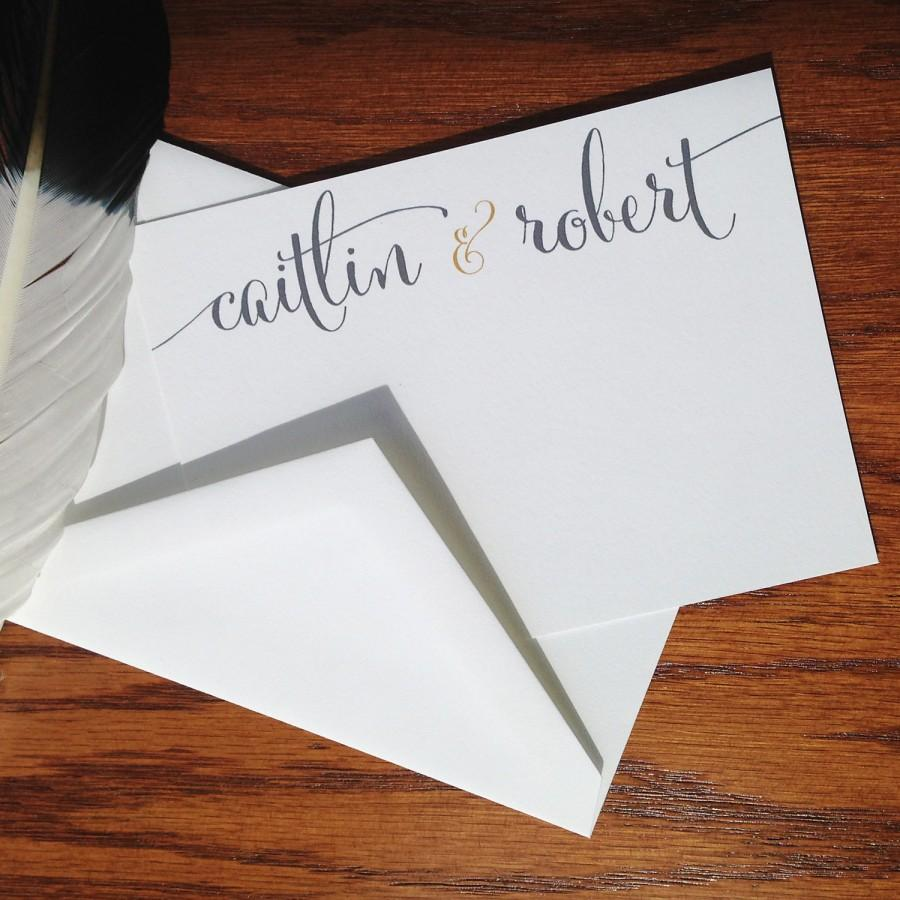 Wedding Thank You Notes Calligraphy Flat Handmade Stationery Bride And Groom Cards